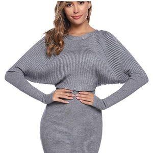 0952 Sweater Dresses for Women Bat Wing Long